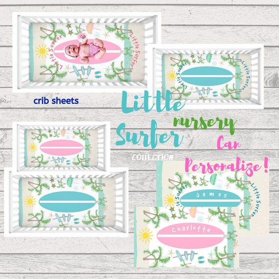 Little Surfer Beach Crib Sheet - Can PERSONALIZE, Baby Girl & Baby Boy Nursery, Personalized Crib Sheet, Toddler fitted sheet, Photo Prop