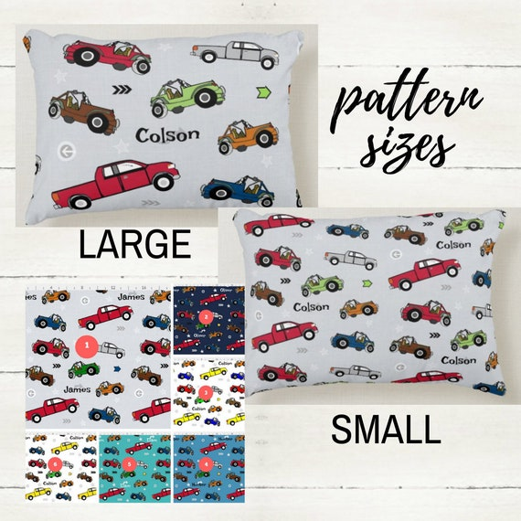 Personalized Pillow  12x16 - Cars, Jeeps & Pickup Trucks, Nursery Decor,Kids Bedding, Boy Bedroom Pillow