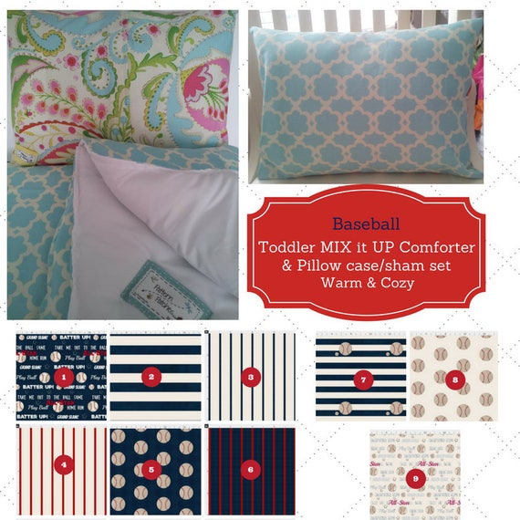MIX it UP Toddler Comforter Set - Baseball, Custom Bedding, Pillow Case / Sham, Kids Comforter Throw