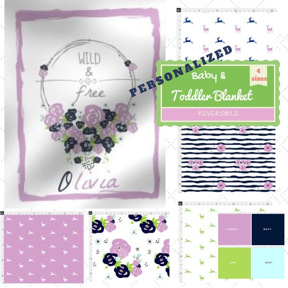 PERSONALIZED Reversible Newborn Baby / Toddler / Kids Blanket - 4 sizes -Wild & Free Floral Wreath Purple Colorway