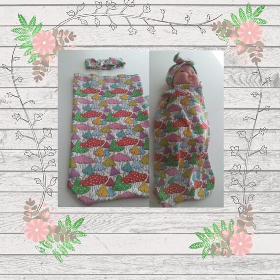 READY to SHIP Organic Cotton Newborn Cocoon Swaddle Sleep Sack,  Baby Girl Headband - Colorful  Mushrooms