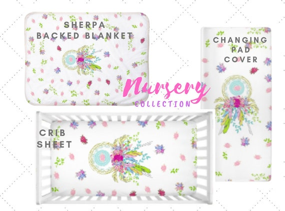 In stock - Dream Catcher Floral | Boho Floral Baby Girl Nursery - Crib Sheet, Blanket, Changing Pad Cover