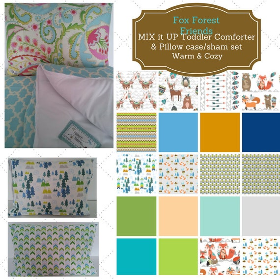 MIX it UP Toddler Comforter Set - Fox Forest Friends Tribe, Custom Bedding, Pillow Case / Sham, Kids Comforter Throw