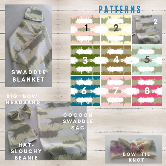 Organic Gift Set - Newborn Cocoon Swaddle Sack, Swaddle Receiving Blanket, Baby Hat, Headband, Photo Prop, Easy Swaddle -Color Splash