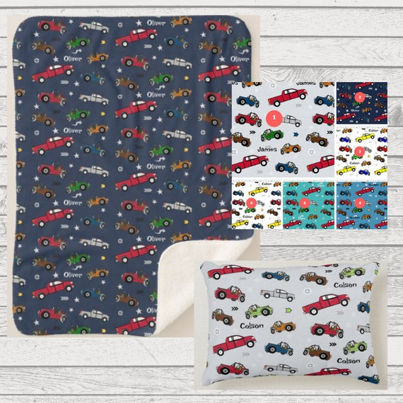 Personalized Blanket & 12x16 Pillow- Cars, Jeeps, Pickup Trucks - Sherpa or Plush Toddler Kids Blanket, Nursery Kids Bedroom Decor