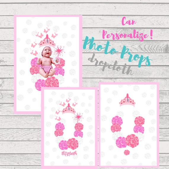 Princess Flatlay Photo Dropcloth 54x36 - Can PERSONALIZE, Baby Girl Photography, Personalized Photo Prop, Toddler Photo Background