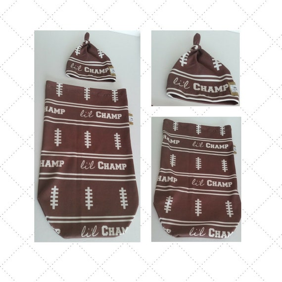 READY to SHIP Organic Cotton Newborn Cocoon Swaddle Sleep Sack,  Baby Top Knot Beanie Hat - Football Li'l Champ