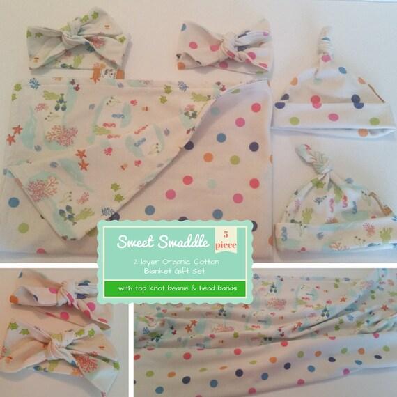 Sweet Swaddle Baby Gift Set - Organic Cotton Reversible Blanket & Newborn Beanie/Headband Set -Under the Sea Polka