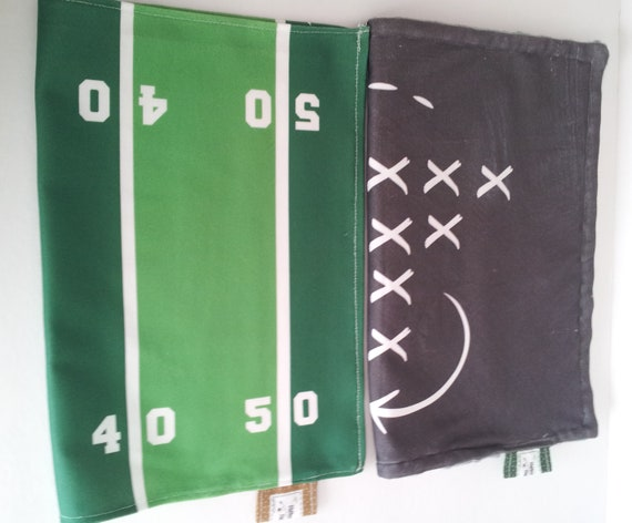 Football Field OR Game Plan Blanket- organic cotton and minky baby blanket, 24x32 Newborn, 32x50 Toddler Kids Blanket