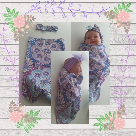 READY to SHIP Organic Cotton Newborn Cocoon Swaddle Sleep Sack,  Baby Girl Headband - Purple Mandala