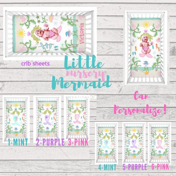 Little Mermaid Beach Crib Sheet - Can PERSONALIZE, Baby Girl Nursery, Personalized Crib Sheet, Toddler fitted sheet, Flatlay Photo Prop