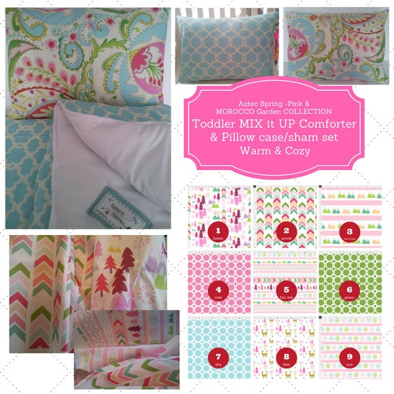 Mix it Up Toddler Comforter Set - Aztec Spring Pink, Morocco Garden, Custom Bedding, Pillow Case / Sham, Kids Comforter Throw