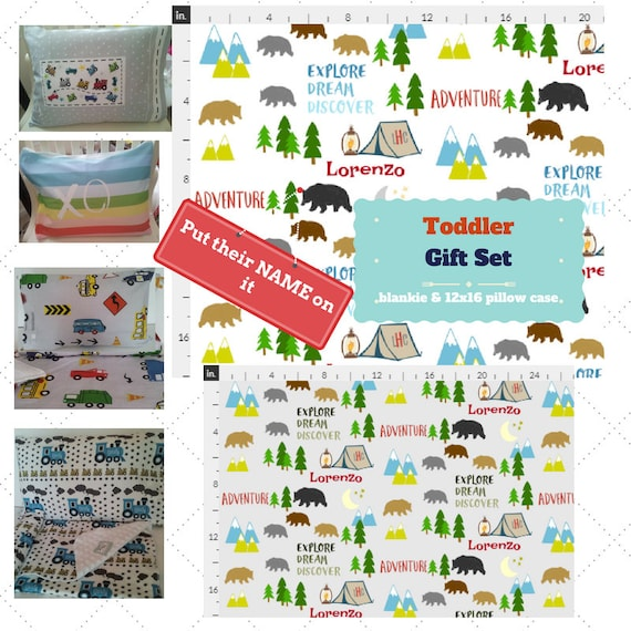 Toddler Blanket Set - Bear Camp Personalized Blanket / Pillow Case - Cotton, Knit & Minky Kids Name Blanket / Birthday Boy Gift