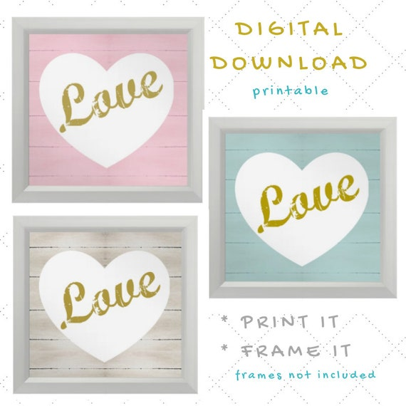 Digital Download - Girl Nursery Wall Art - LOVE quote on rustic wood in pink, mint and whitewash - set of 3 Printables