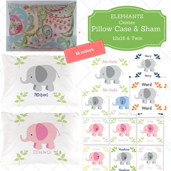 Personalized Pillow Case / Sham 12x16 & Twin - Elephant CENTER Custom Designer Fabric, Nursery Decor, Zoo Animal Kids Bedding, 16 colors