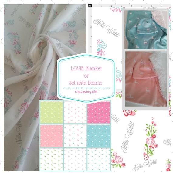 Lovie Newborn Gift Set - Hospital Beanie Hat | Security Blanket Lovie,  Baby Coming Home Gift, Baby Girl Deer Blanket