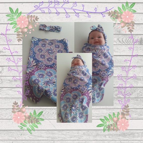 READY to SHIP Organic Cotton Newborn Cocoon Swaddle Sleep Sack,  Baby Girl Headband - Purple Mandala