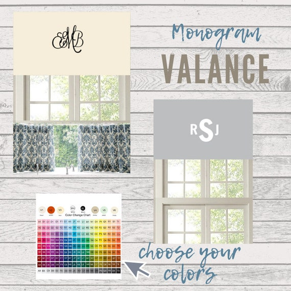 MONOGRAM Valance - Custom Personalized Valance, Kids Room Valance, Baby Boy Nursery Curtain, Baby Girl Valance, Designer Valance