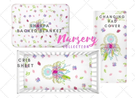 Dream Catcher Floral | Boho Floral Baby Girl Nursery - Crib Sheet, Blanket, Changing Pad Cover