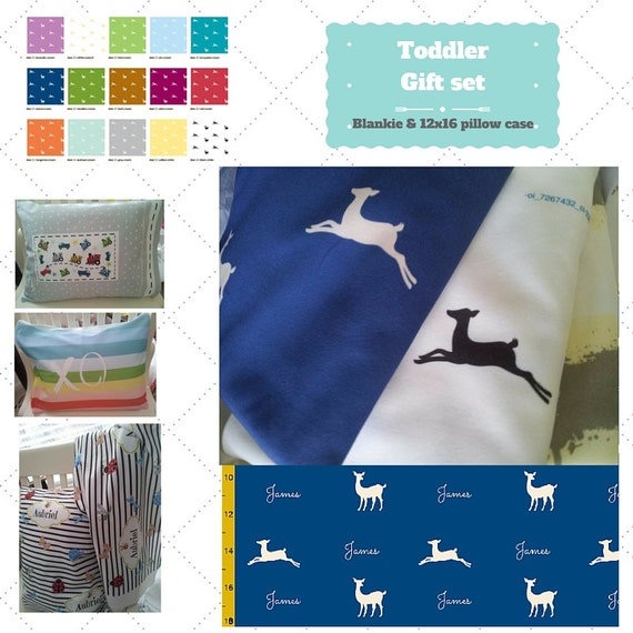 Toddler Gift Set - Custom Deer Personalized Blanket & Pillow Case - Organic Cotton Kids Name Blanket / Birthday Gift / 16 Colors