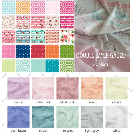 LOVIE 2 layer DOUBLE Gauze Organic Sweet Pea Gauze Baby / Toddler Blanket - Watercolor Floral Deer Creatures Collection /Summer Solids