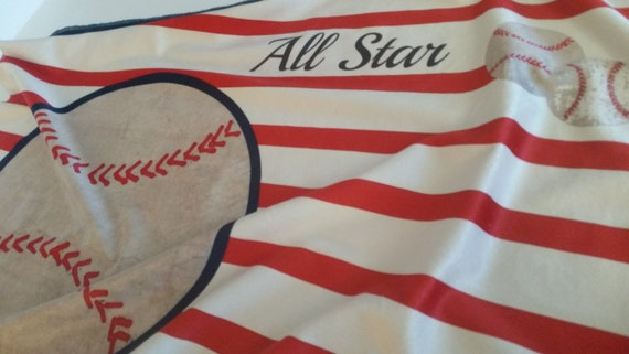 Vintage Baseball All Star Red Stripes | READY to SHIP Minky Baby Blanket/ Toddler Blanket, Stroller/Car Blanket with Navy Minky Back