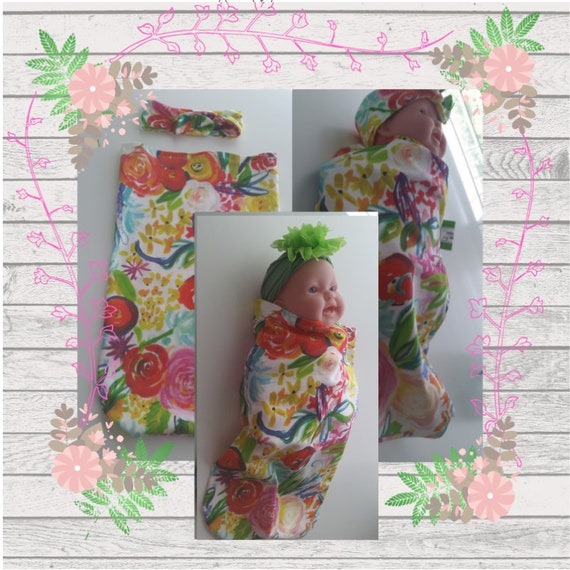 READY to SHIP Organic Cotton Newborn Cocoon Swaddle Sleep Sack,  Baby Girl Headband - Neon Boho Floral