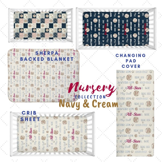 Baseball Navy & Cream Nursery - Crib Sheet, Blanket, Changing Pad Cover | Vintage Baseball Quotes, All Star Sports Nursery, Baseball Quilt