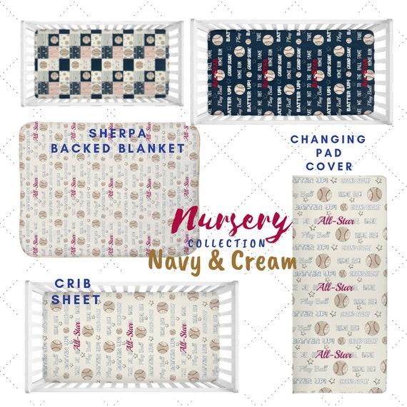 Baseball Navy & Cream Nursery - Crib Sheet, Blanket, Changing Pad Cover | Vintage Baseball Quotes, All Star Sports Nursery, Baseball Quilt