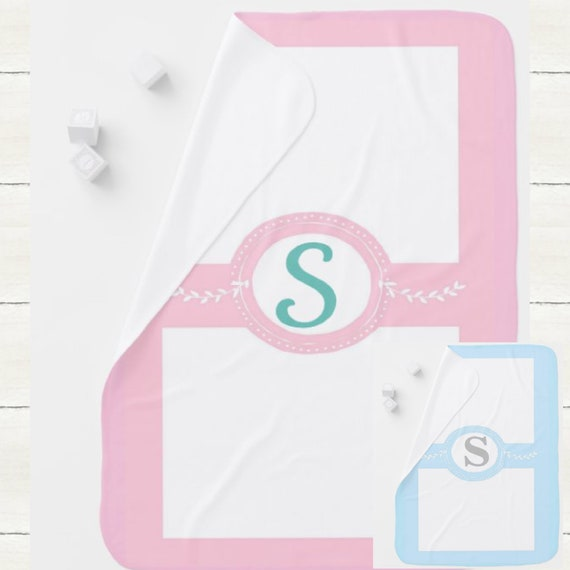 Monogram Initial Blanket | Baby and Toddler size | Girl Pink | Boy Blue | Plush Minky, Cuddle Sherpa