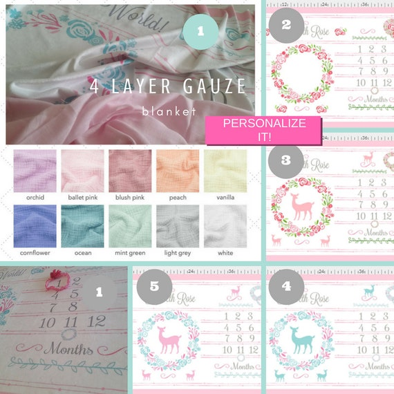 Double Layer Gauze Personalized Monthly Milestone Blanket, Newborn Photo, Christening Baptism Blanket - Shabby Chic Floral Wreath & Deer