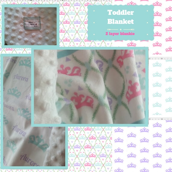 Toddler / Baby Blanket / Sham - Tiara Princess Fun - organic cotton,minky blanket, 24x32 Newborn, 32x50 Toddler Kids Blanket