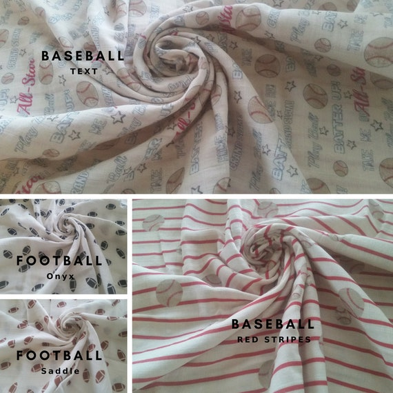 IN STOCK 1 Layer  Double Gauze Baby Blanket / Organic Muslin Newborn Hospital Blanket  - Summer Fun Mix Sports, Football & Baseball