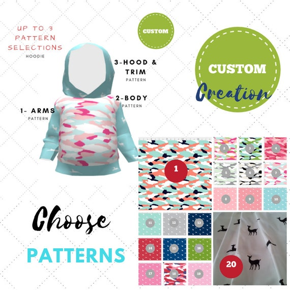Custom Create - Baby / Toddler Hoodie - Camo Tropics Deer Creatures Collection | Cute Twins, Triplets, Sibling Matching Clothing