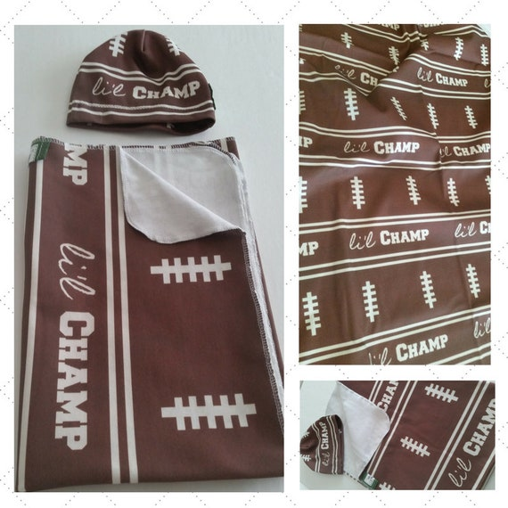 READY to SHIP Sweet Baby Swaddle Gift Set - Organic Cotton Newborn Blanket & Beanie Hat - Li'l Champ Football Swaddle