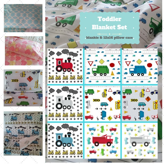 Toddler Cotton Blanket Set - Trains, Cars, Trucks Custom Bedding, Pillow Case / Sham, Kids Cotton & Minky Blanket