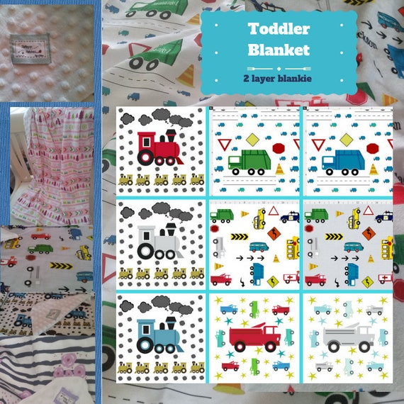 Toddler / Baby Blanket / Sham - Cars,Trucks & Trains - organic cotton,minky blanket, 24x32 Newborn, 32x50 Toddler Kids Blanket