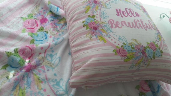 IN Stock - Shabby Chic / Boho / Farmhouse Chic Pillow 18x18 - Hello Beautiful Pink Stripes