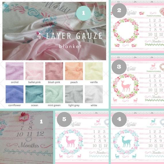 2 Layer Double Gauze HELLO WORLD Monthly Milestone Blanket, Newborn Photo, Christening, Baptism Blanket -Shabby Chic Floral Wreath Deer