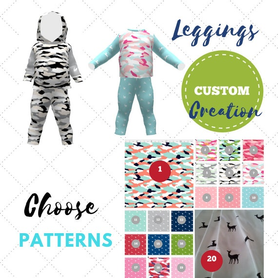 Custom Create - Baby / Toddler Leggings - Camo Tropics Deer Creatures Collection | Cute Twins, Triplets, Sibling Matching Clothing