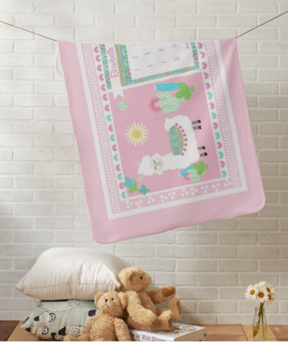 PERSONALIZED Monthly Milestone Blanket, Newborn Photo Dropcloth -Plush Minky, Sherpa, Fleece -Sweet Llama & Cactus
