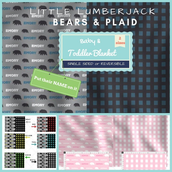 Personalized Newborn Baby / Toddler / Kids Blanket - 2 sizes - Single Sided or Reversible - Little Lumberjack Plaid & Black Bears