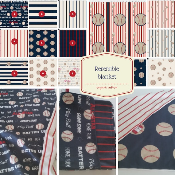REVERSIBLE Blanket -Baseball - Minky, Organic Cotton Knit & Gauze| 24x32 / 32x50 / 50x50 Newborn, Swaddle, Receiving, Toddler,  Kids