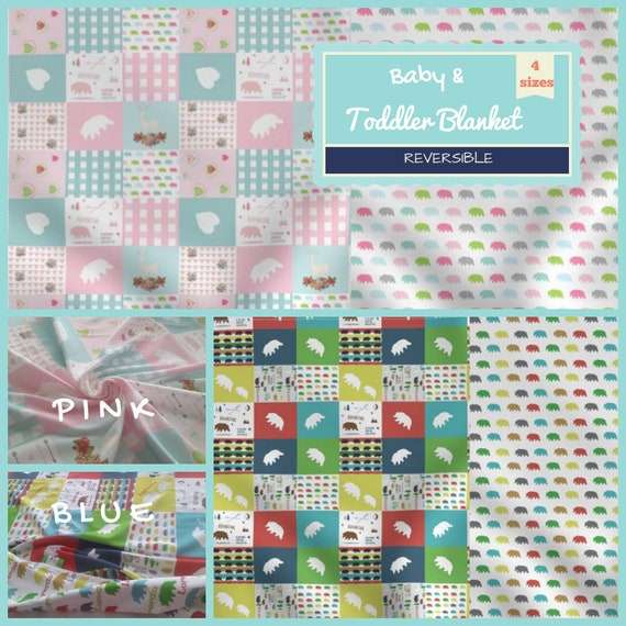 Reversible Newborn Baby / Toddler / Kids Blanket - 4 sizes - Bear Camp Quilt & Marching Bears | Pink and Blue Colorways