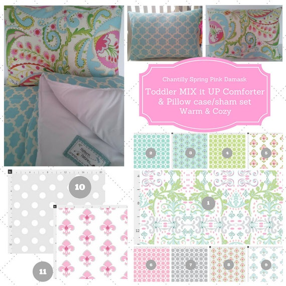 Mix it Up Toddler Comforter Set - Chantilly Spring Pink Damask Custom Bedding, Pillow Case / Sham, Shabby Chic, Kids Comforter Throw