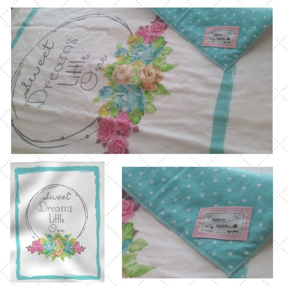 Sweet Dreams Little One| READY to SHIP Cotton Baby Blanket / Toddler Stroller/Car Blanket with Tiffany Mint & White Polka Dot Back
