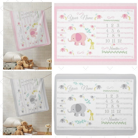 PERSONALIZED Monthly Milestone Blanket, Newborn Photo Dropcloth -  Minky Plush, Fleece, Sherpa -Elephant & Giraffe - Pink | Gray
