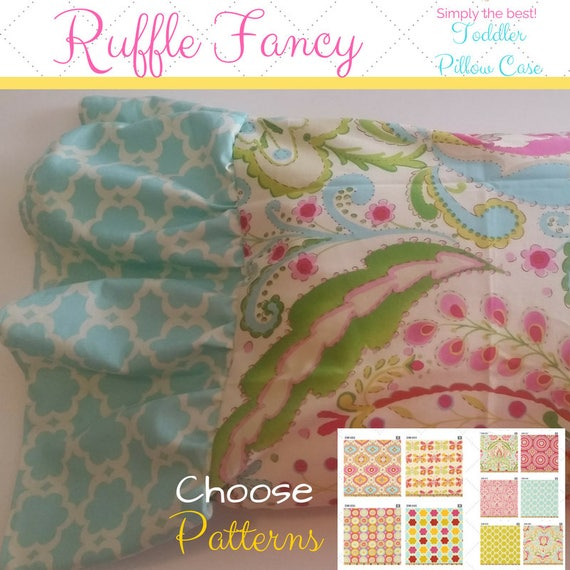 Toddler Ruffle Fancy Pillow Case 12x16 - Kumari Garden Designer Fabric, Nursery Decor, Tropical, Moroccan Bedding, Shabby Chic