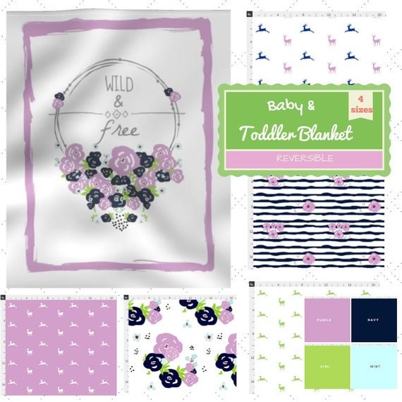 Reversible Newborn Baby / Toddler / Kids Blanket - 4 sizes -Wild & Free Floral Wreath Purple Colorway