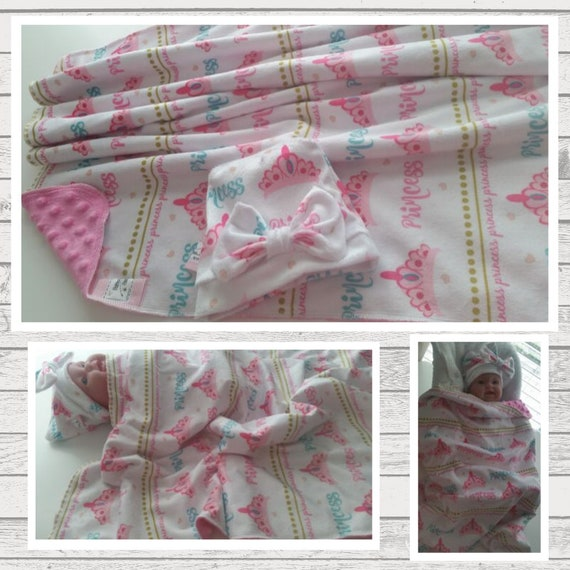 In Stock-Newborn Blanket & Bow Hat Gift Set - Baby Girl Minky Hospital Receiving Blanket - Princess Tiara Pink Mint Gold Polka Dot Wrap